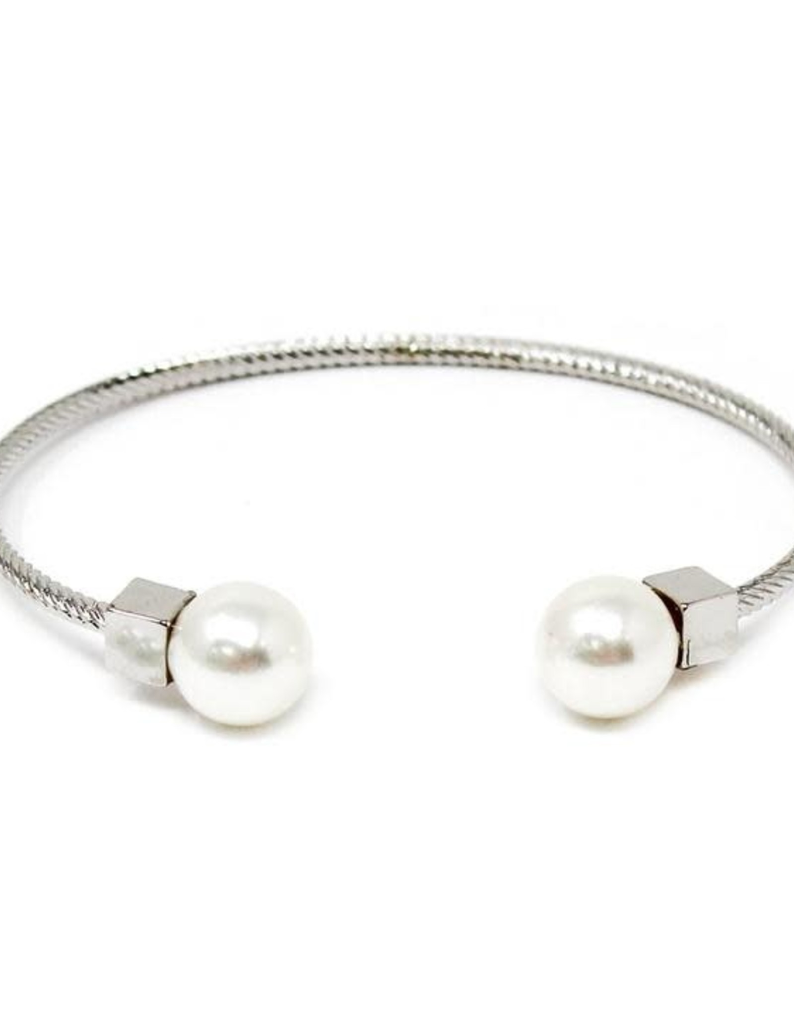 Pearl Embellished Rope Metal Cuff Bracelet