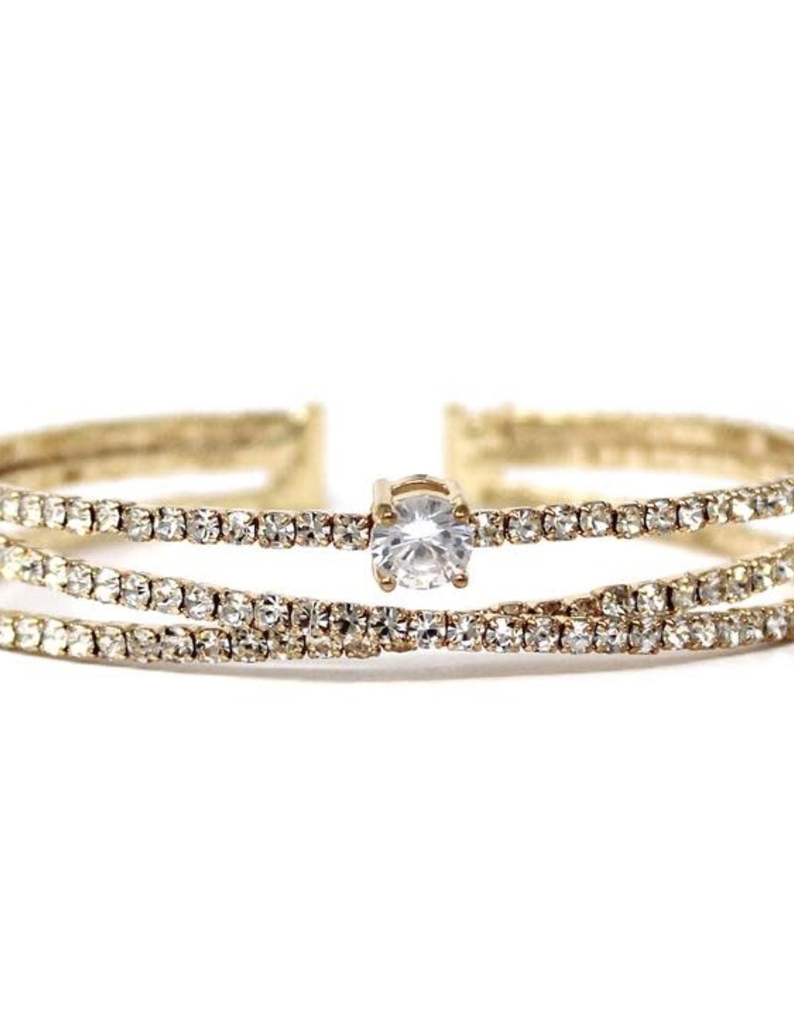 Rhinestone Pave Cuff Bracelet - Gold