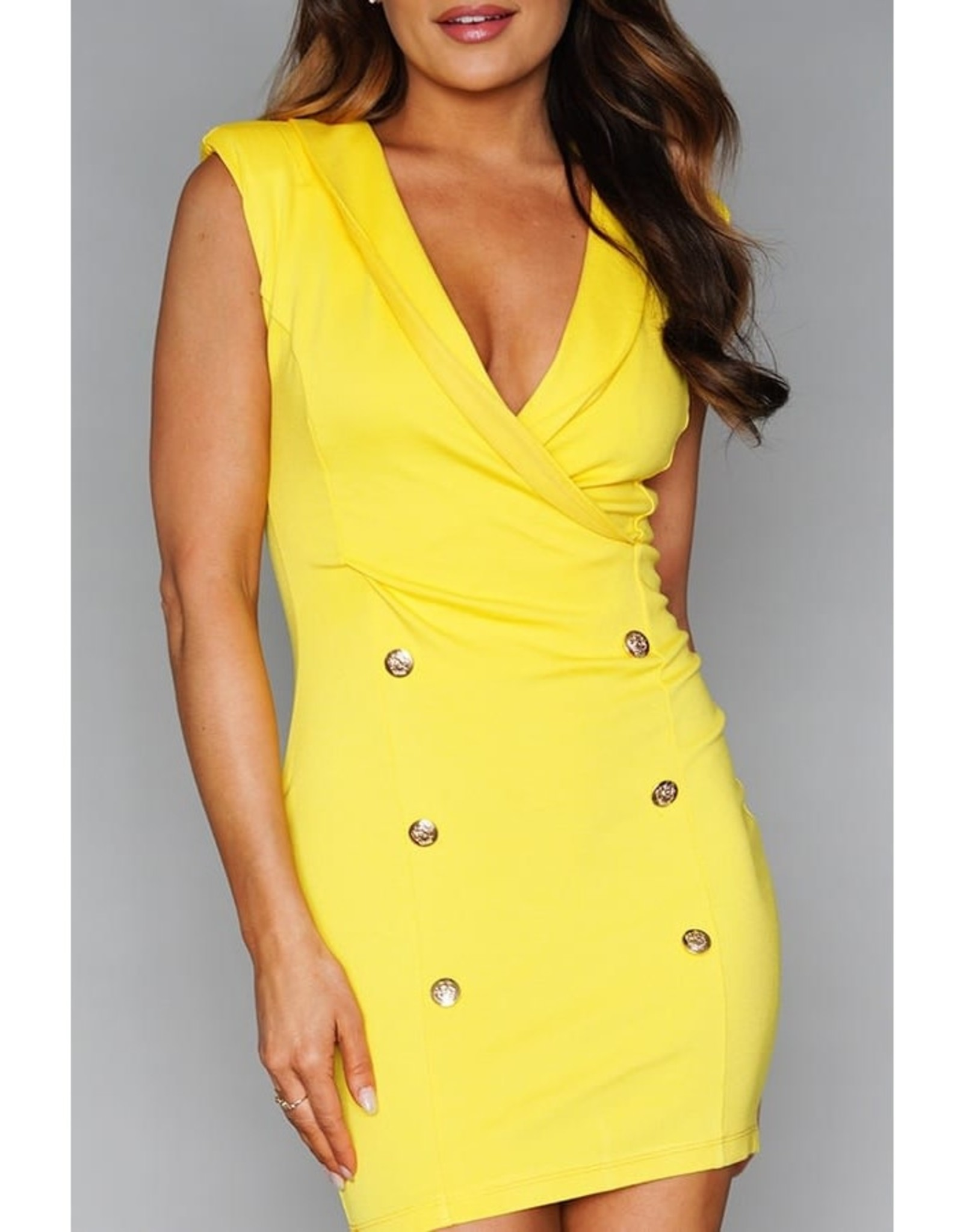 Sleeveless V-Neck Button Dress