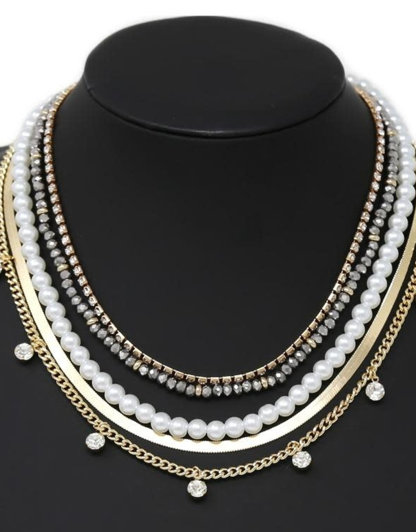 Pearl & Glass Beaded Layered Statement Necklace
