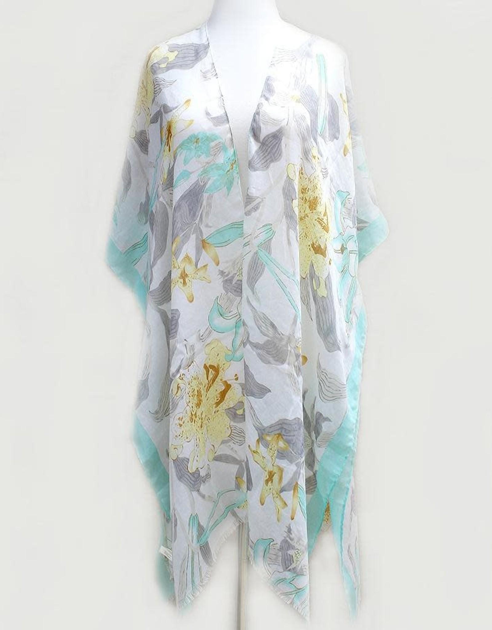 Floral Print Kimono - Mint