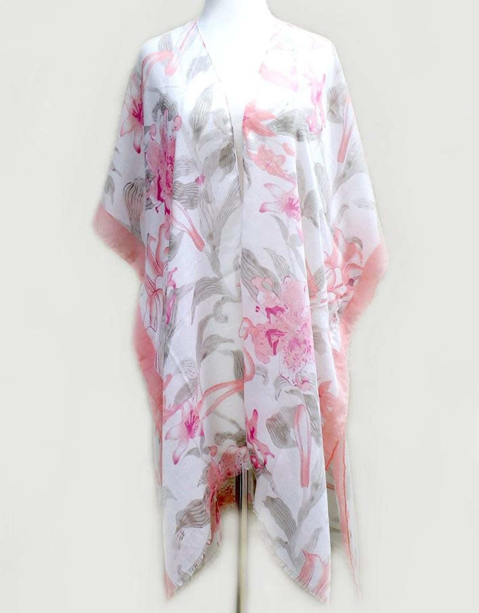 Floral Print Kimono - Coral