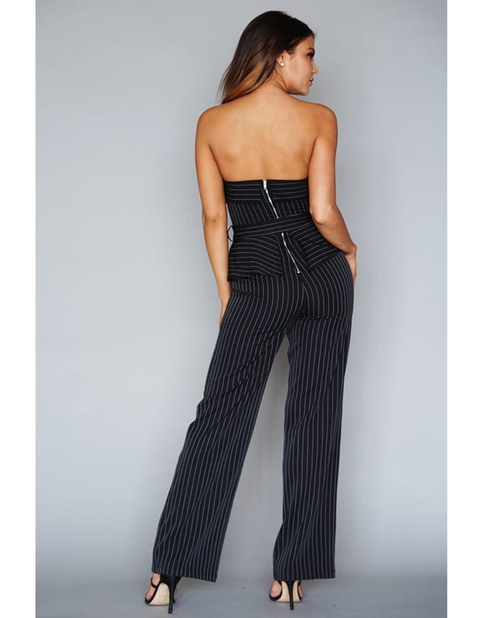 Strapless Pinstripe Tux Jumpsuit