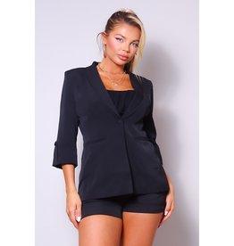 Jacket w/Belted Short Suit Set - Black