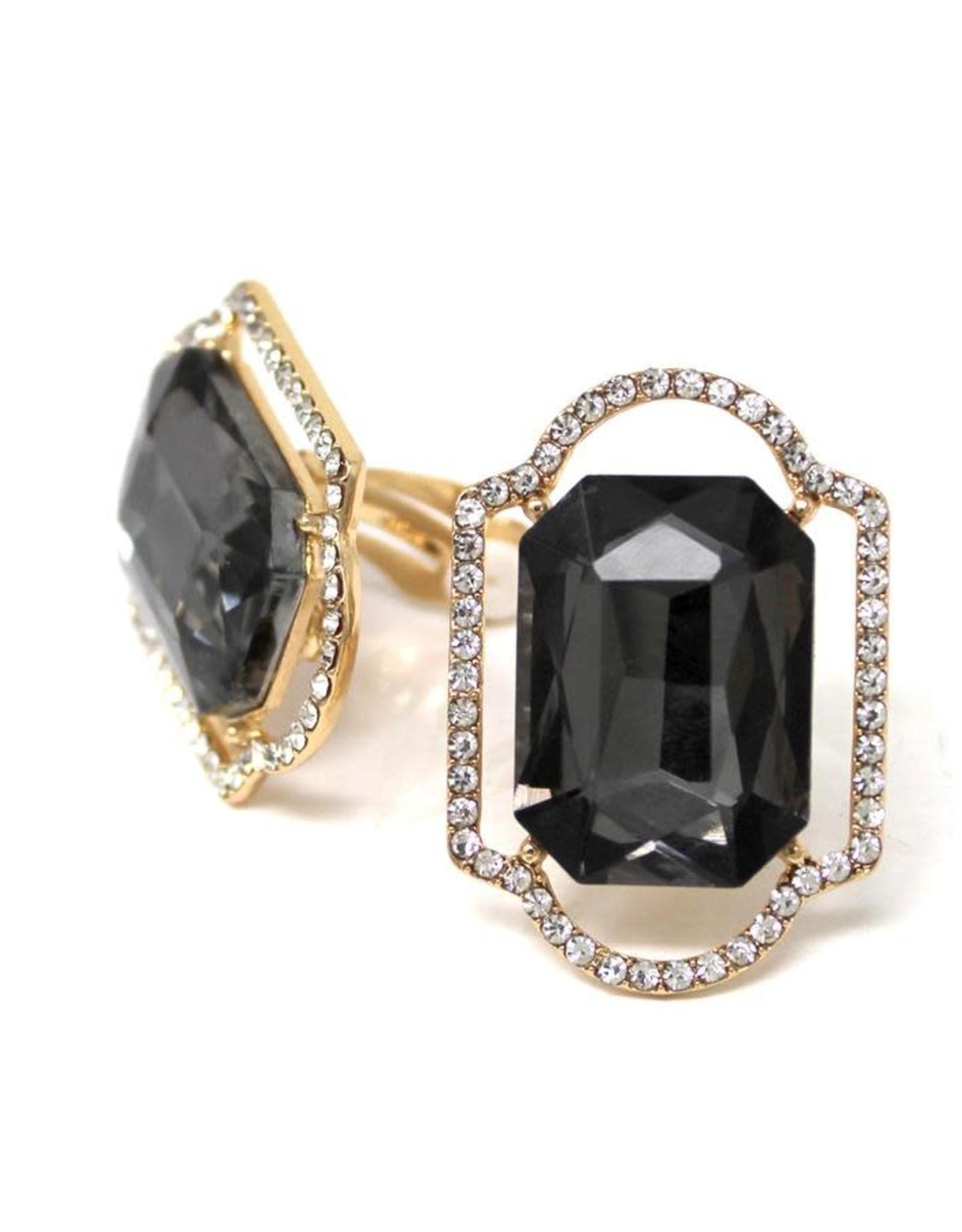 Glass Stone Framed Rectangle Glass Stone Clip Ons - Black Diamond