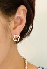 Open Encrusted Clover Earrings