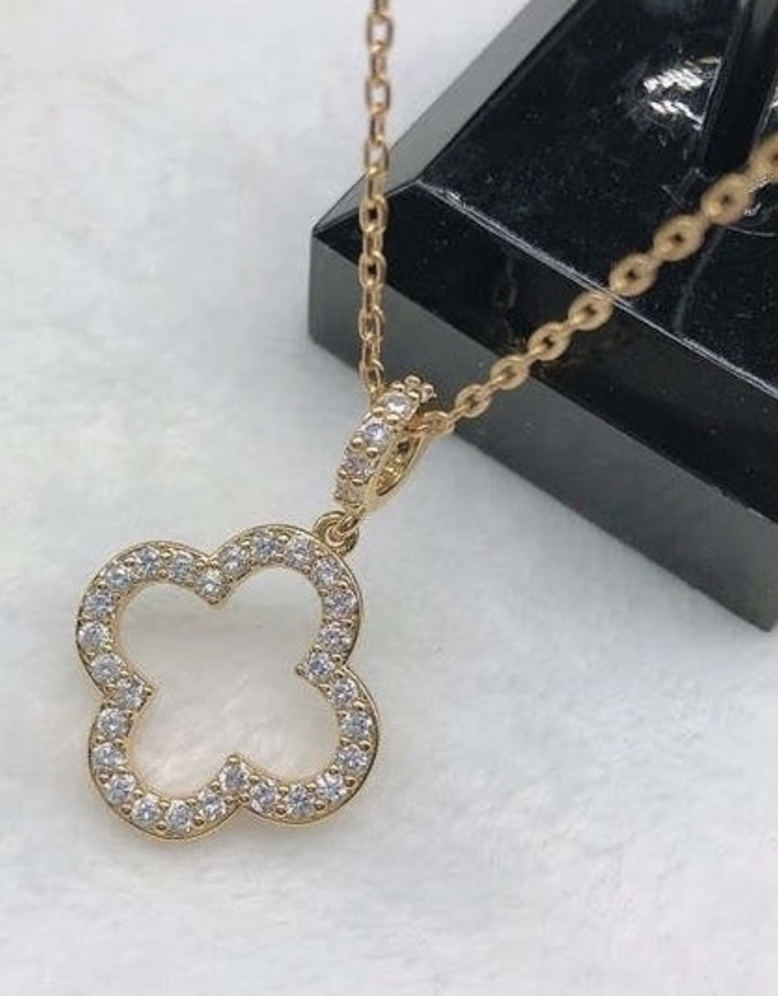 Open and Studded Clover Necklace