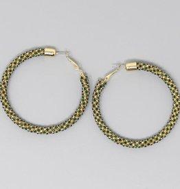 Rhinestone Wrapped Hoop Earrings (65mm) - Gold Emerald