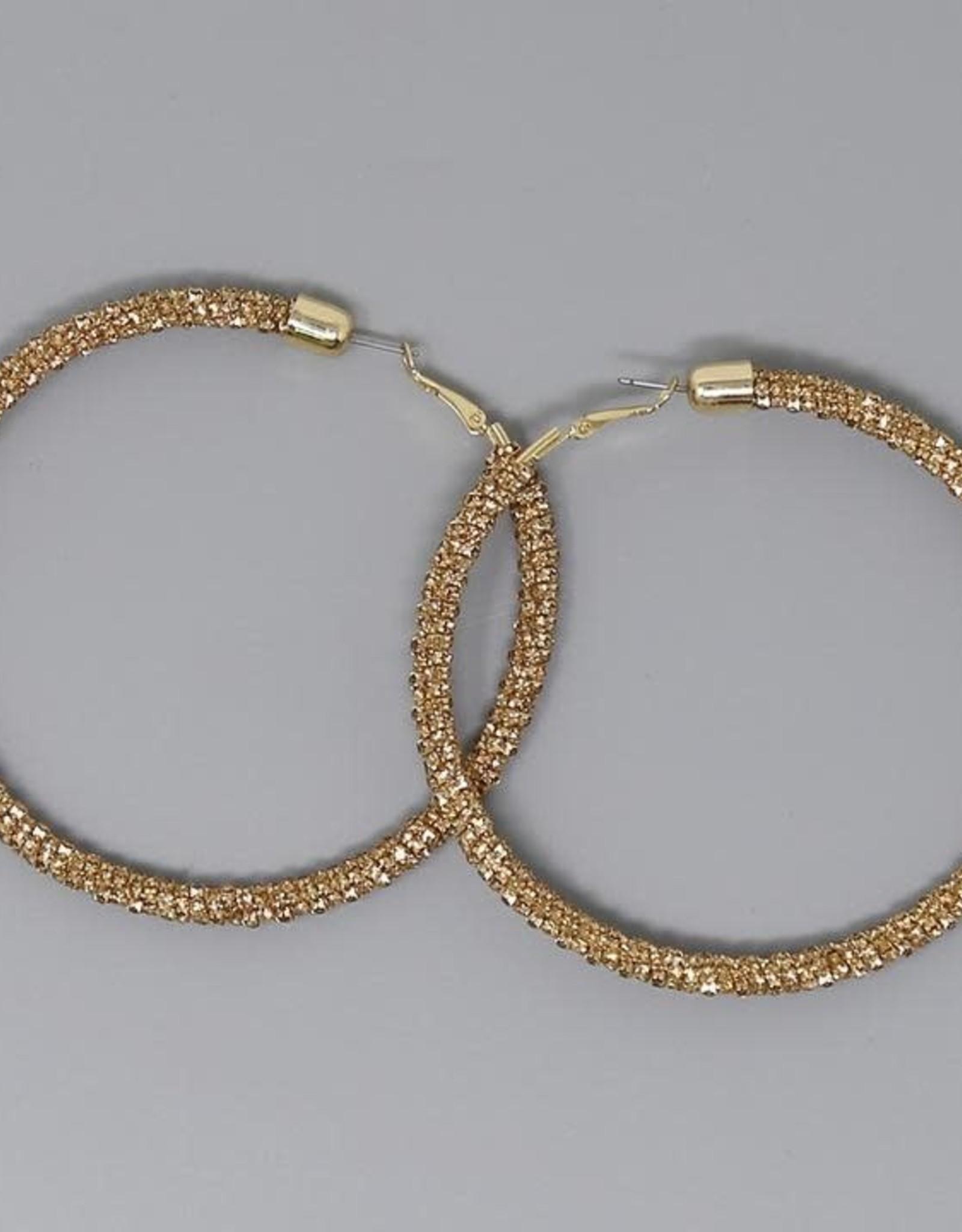 Rhinestone Chain Wrapped Hoop Earrings (80mm) - Gold LCT