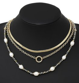 Pearl & Glass Bead Layered Chain Necklace - Hematite