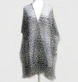 Leopard Print Glitter Kimono - Black