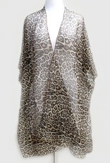 Leopard Print Glitter Kimono - Brown