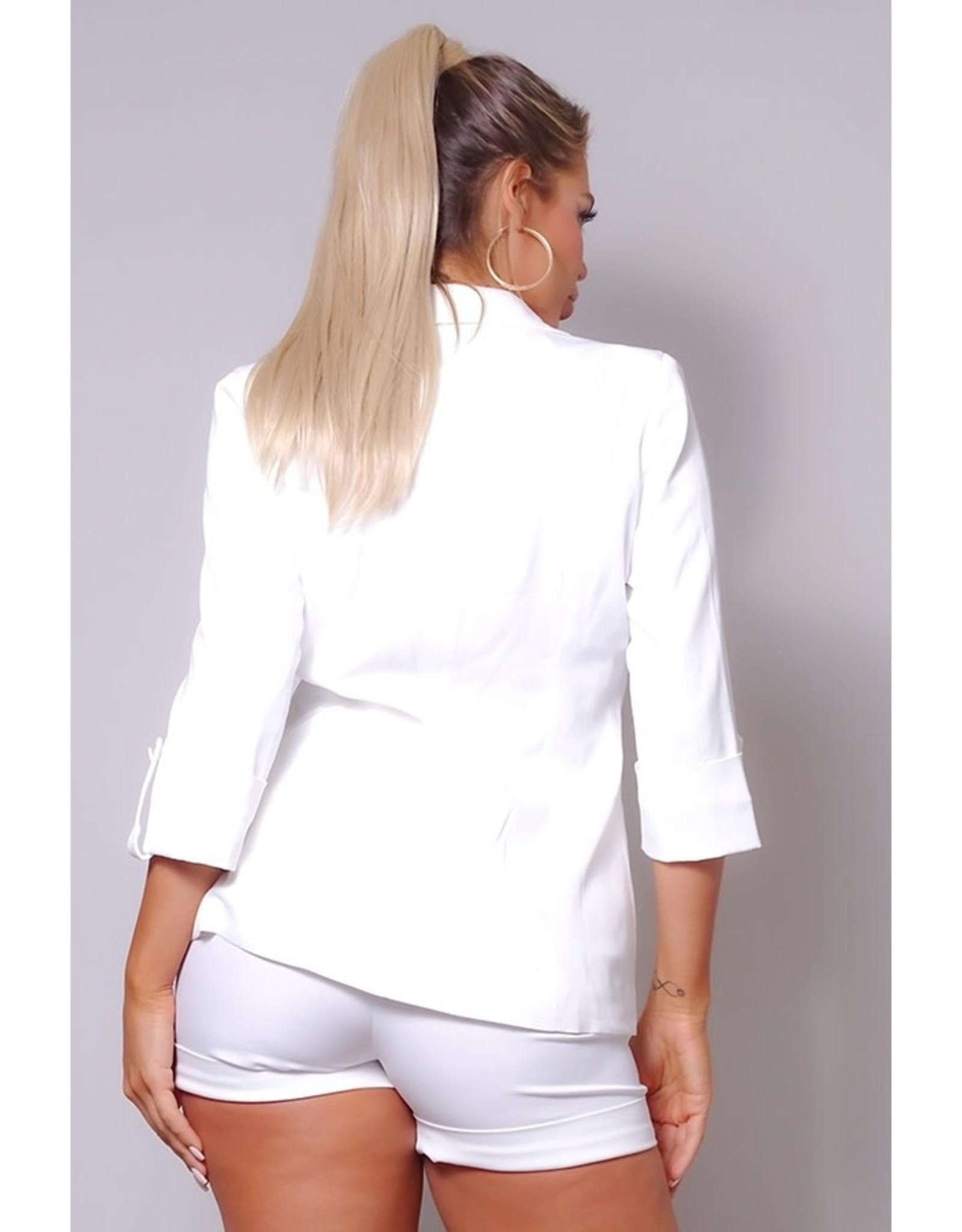 Jacket w/Belted Short Suit Set - Ivory
