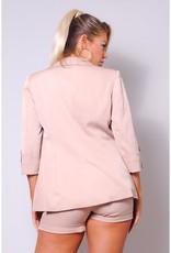 Jacket w/Belted Short Suit Set - Taupe