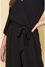 Woven V-Neck Chiffon Pleated Sleeve Jumpsuit