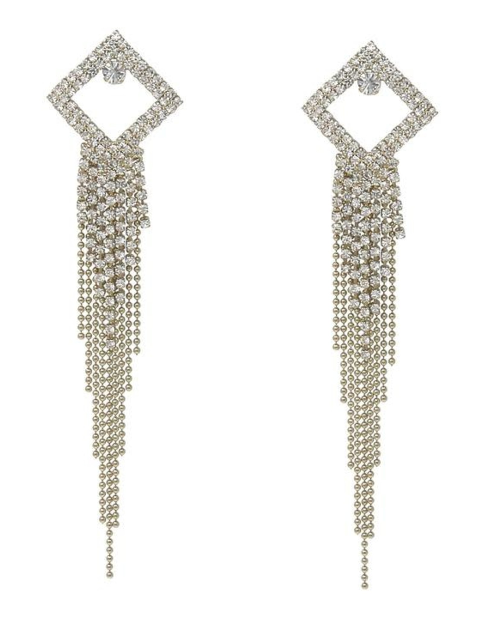Rhinestone Pave Square Ball Chain Fringe Drop Earrings - Gold