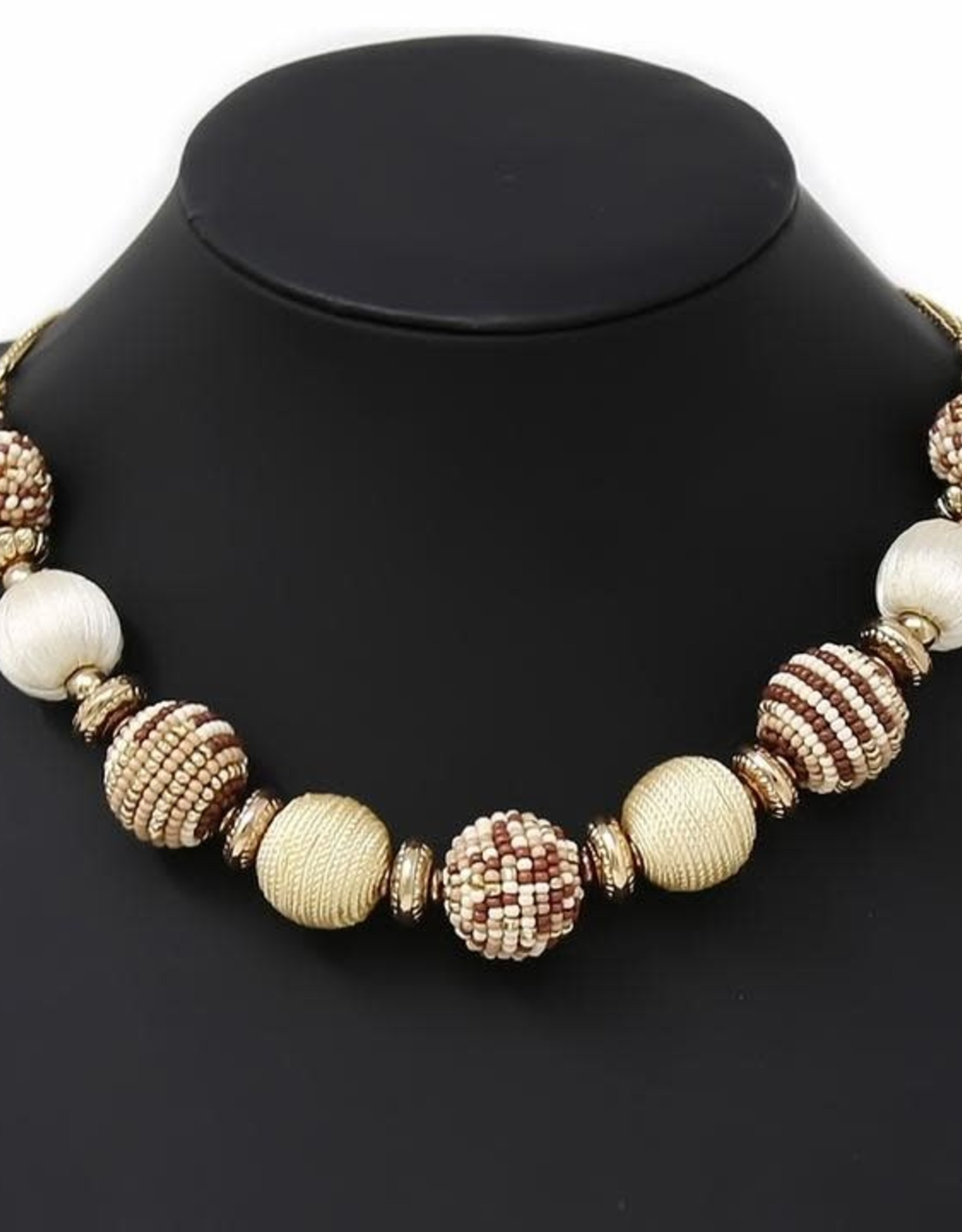 Seed Bead/Thread Wrapped Ball Short Necklace
