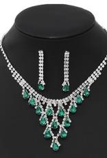 Teardrop Glass Stone Short Necklace Set - Silver/Emerald
