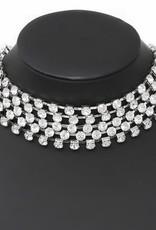 Multi Strand Glass Stone Pave Choker Necklace Set