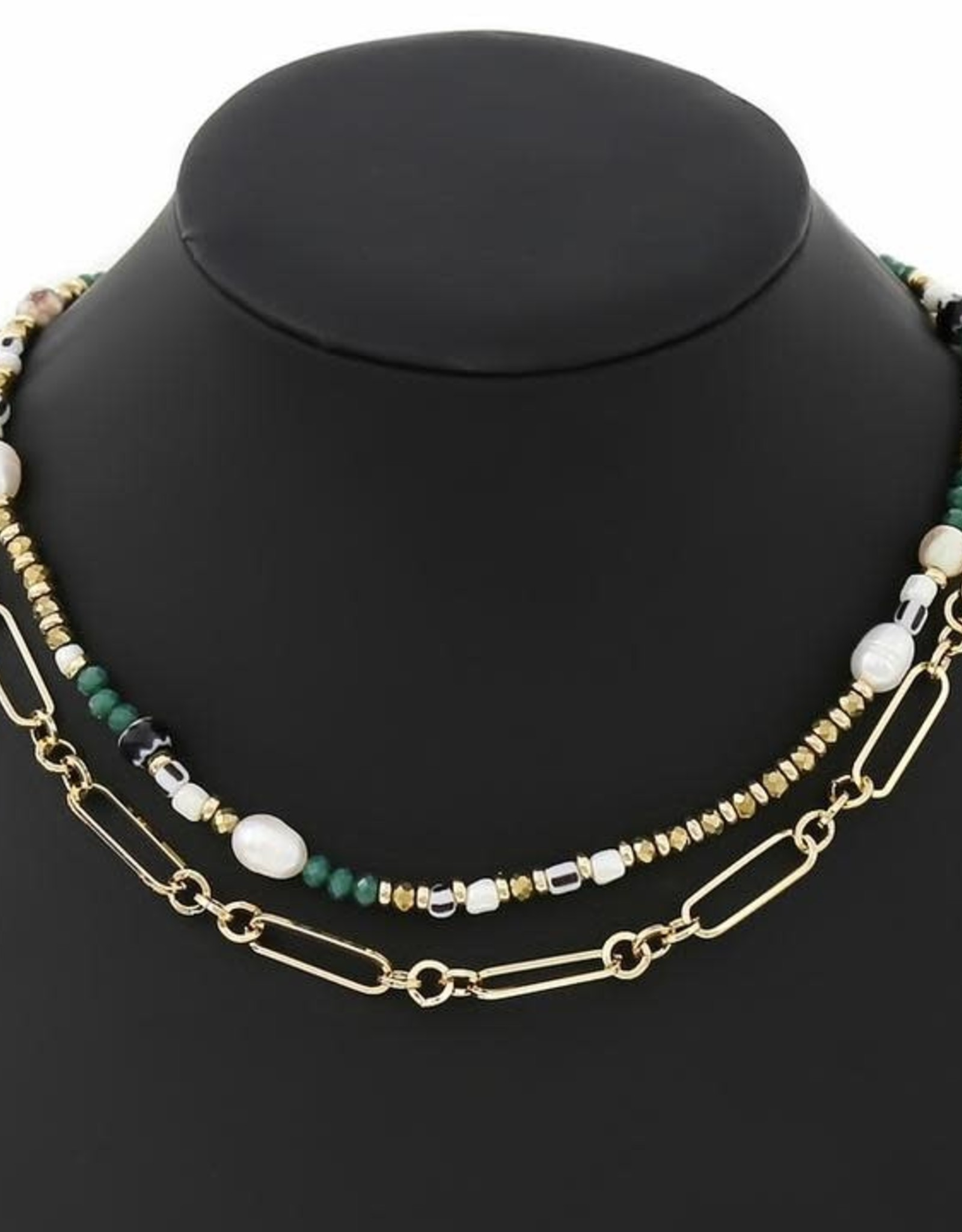 Fresh Water Pearl/Natural Stone/Glass Bead Layered Chain Necklace