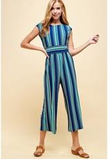 Multi Blue Stripe Gaucho Jumpsuit
