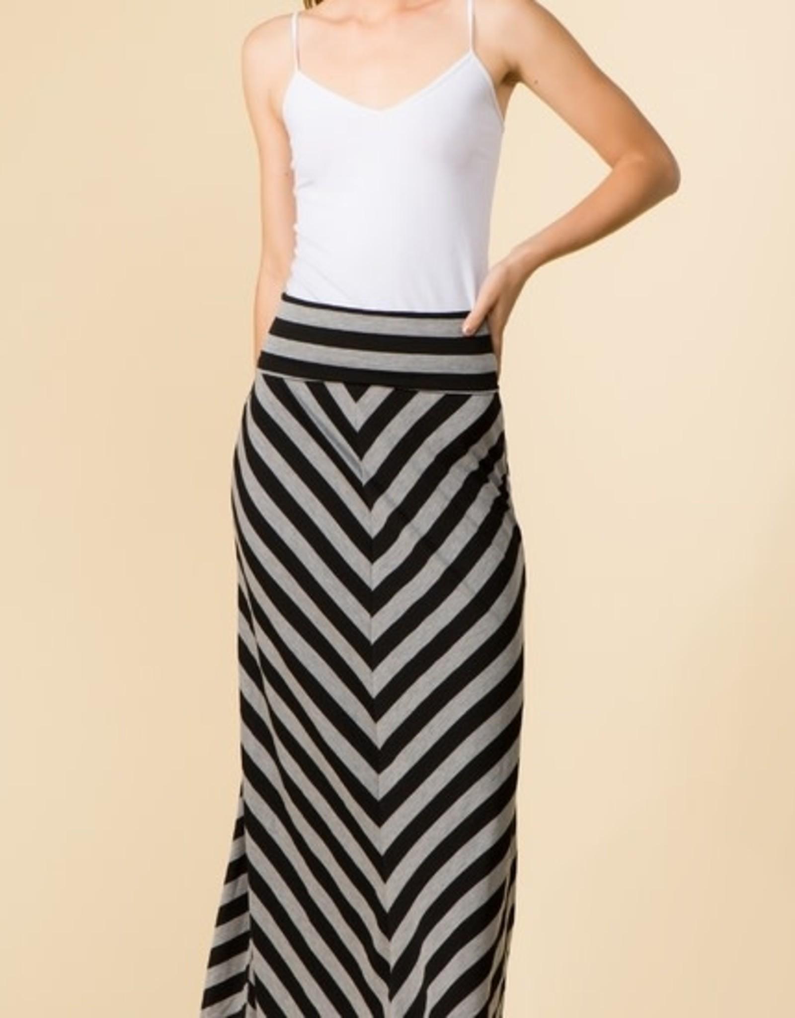 High Waist Chevron Maxi Skirt