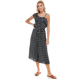Asymmetric Ruffle Print Jumpsuit