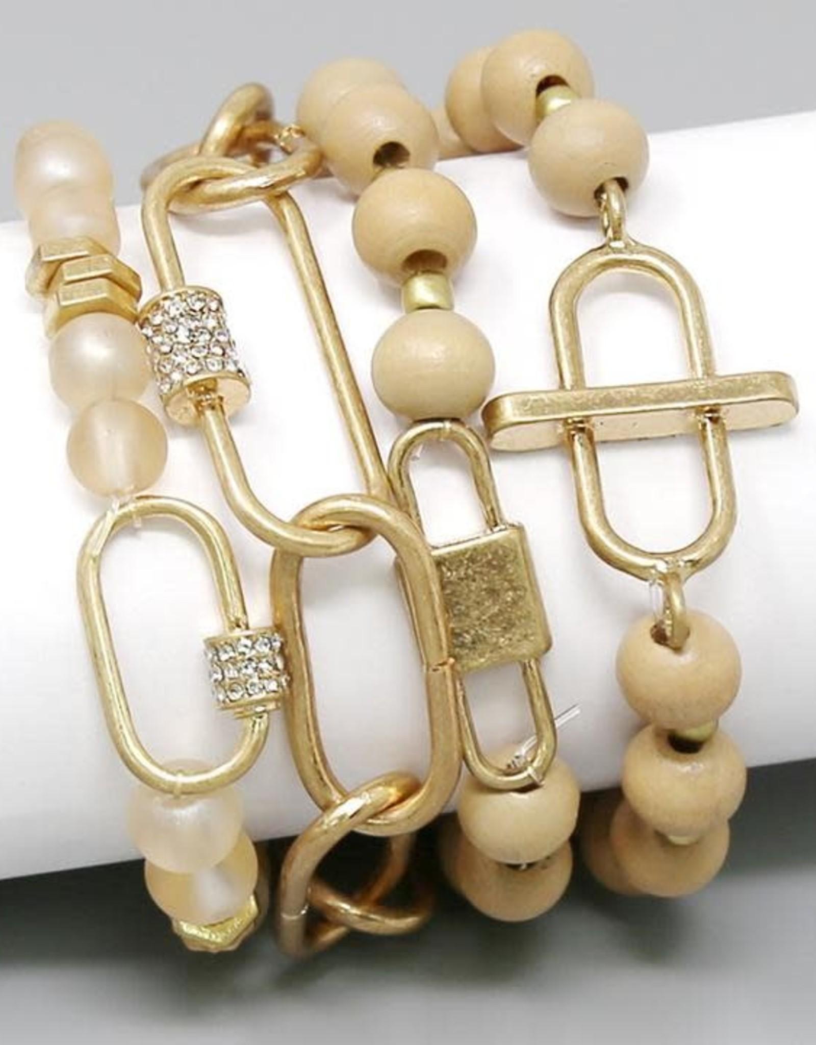 Wood & Glass Beaded Stretch Bracelet - Natural