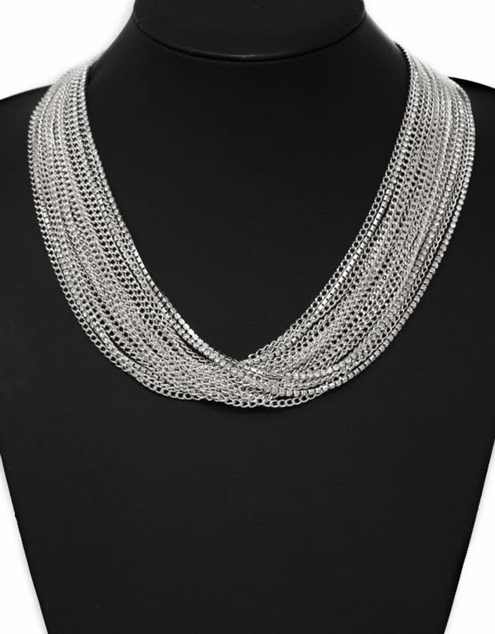 Multi Strand Chain Statement Necklace - Silver
