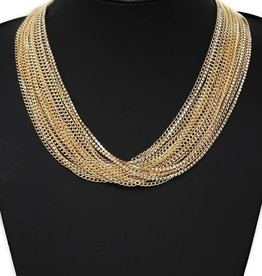Multi Strand Chain Statement Necklace - Gold