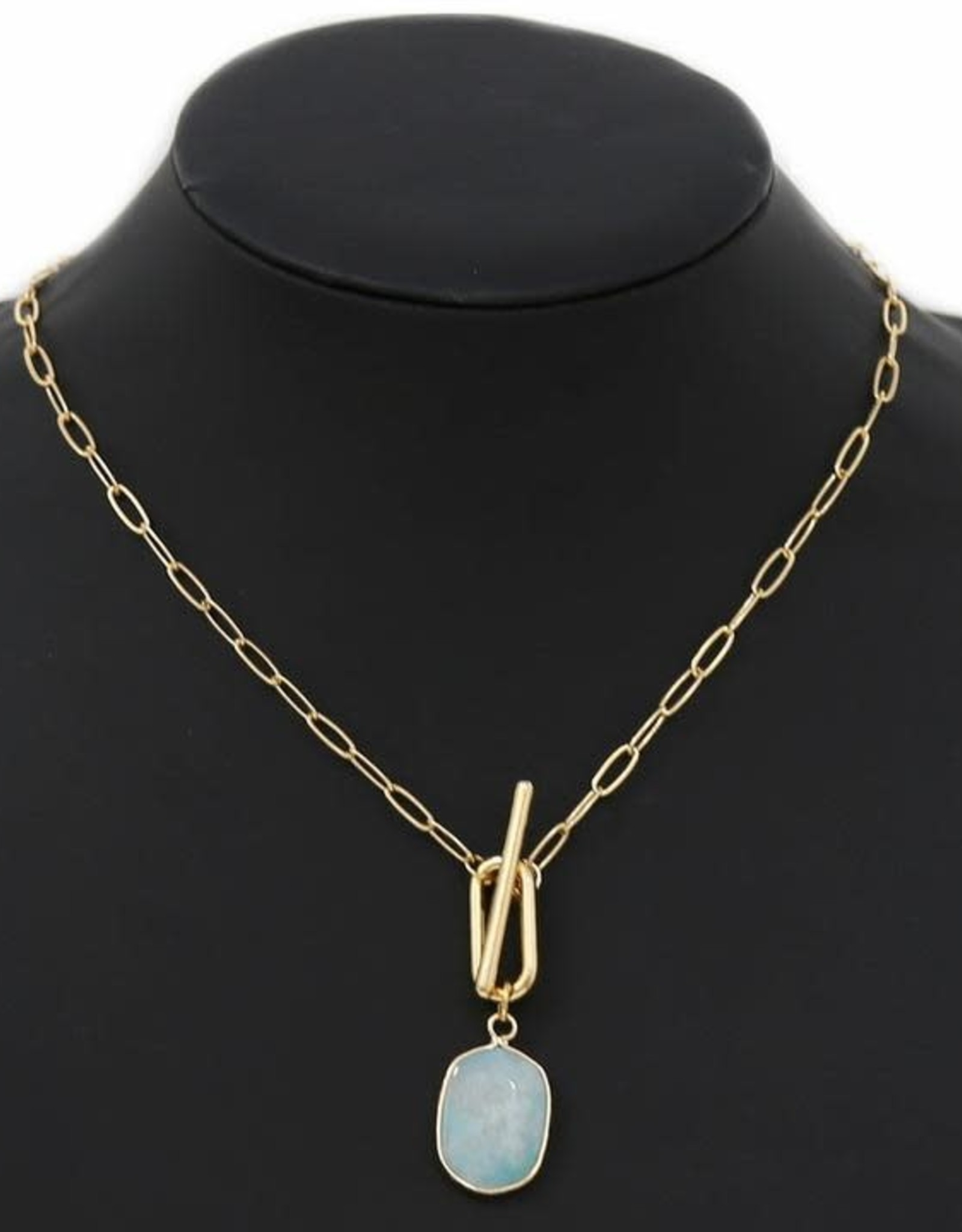 Natural Stone Pendant Linked Chain Necklace - Mint