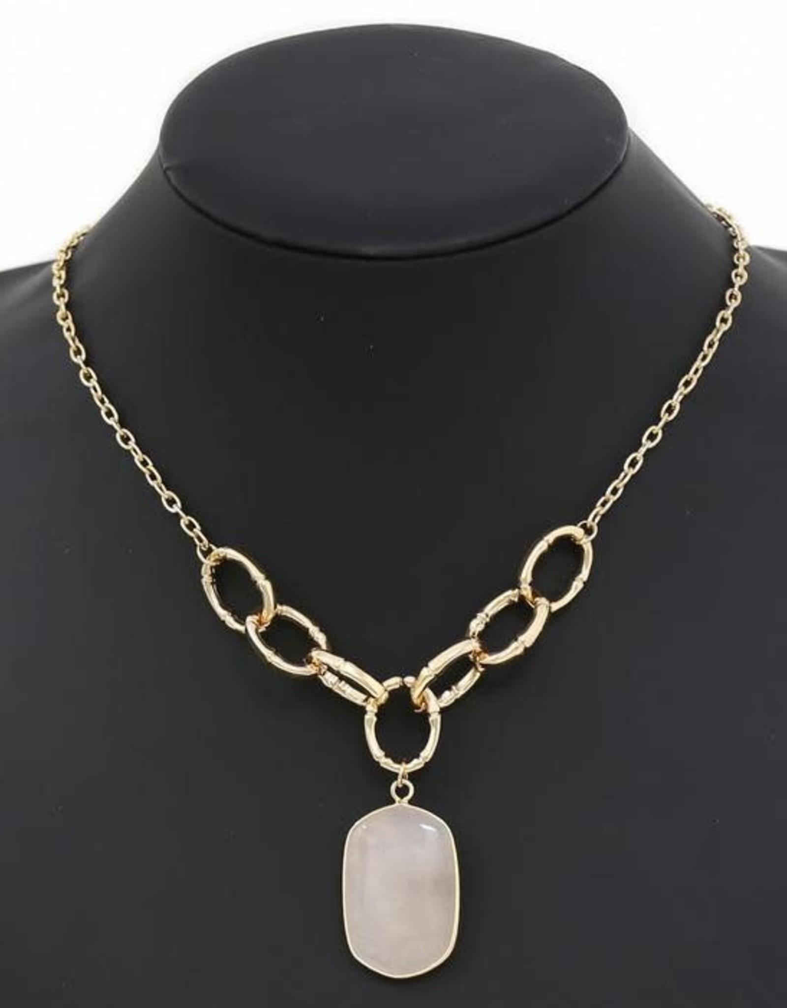 Natural Stone Pendant Short Chain Necklace - Peach