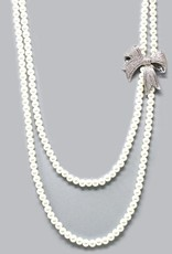 Cubic Zirconia Pave Bow w/Double Layered Pearl Beaded Long Necklace