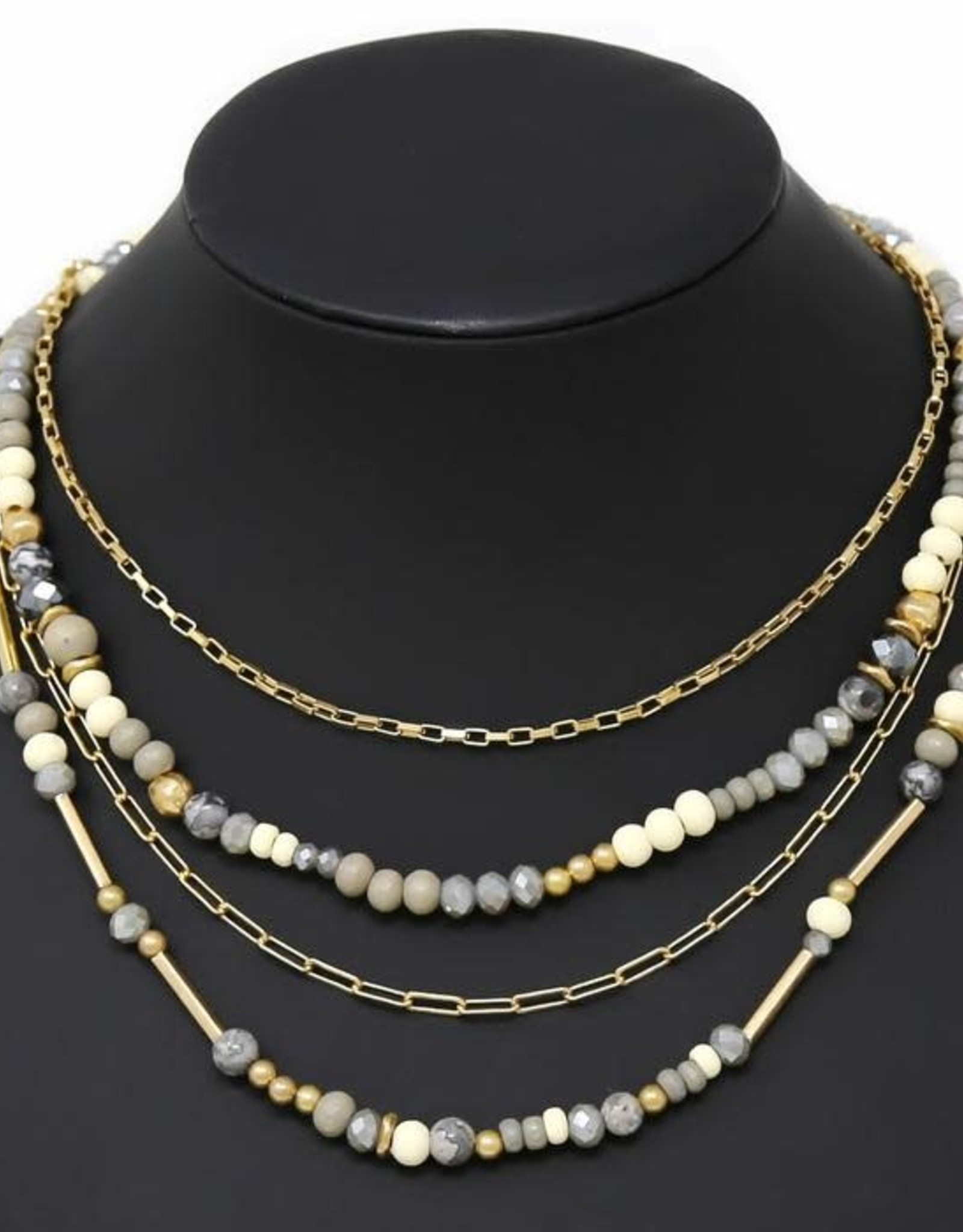 Natural Stone/Wood/Glass Beaded Layered Short Necklace