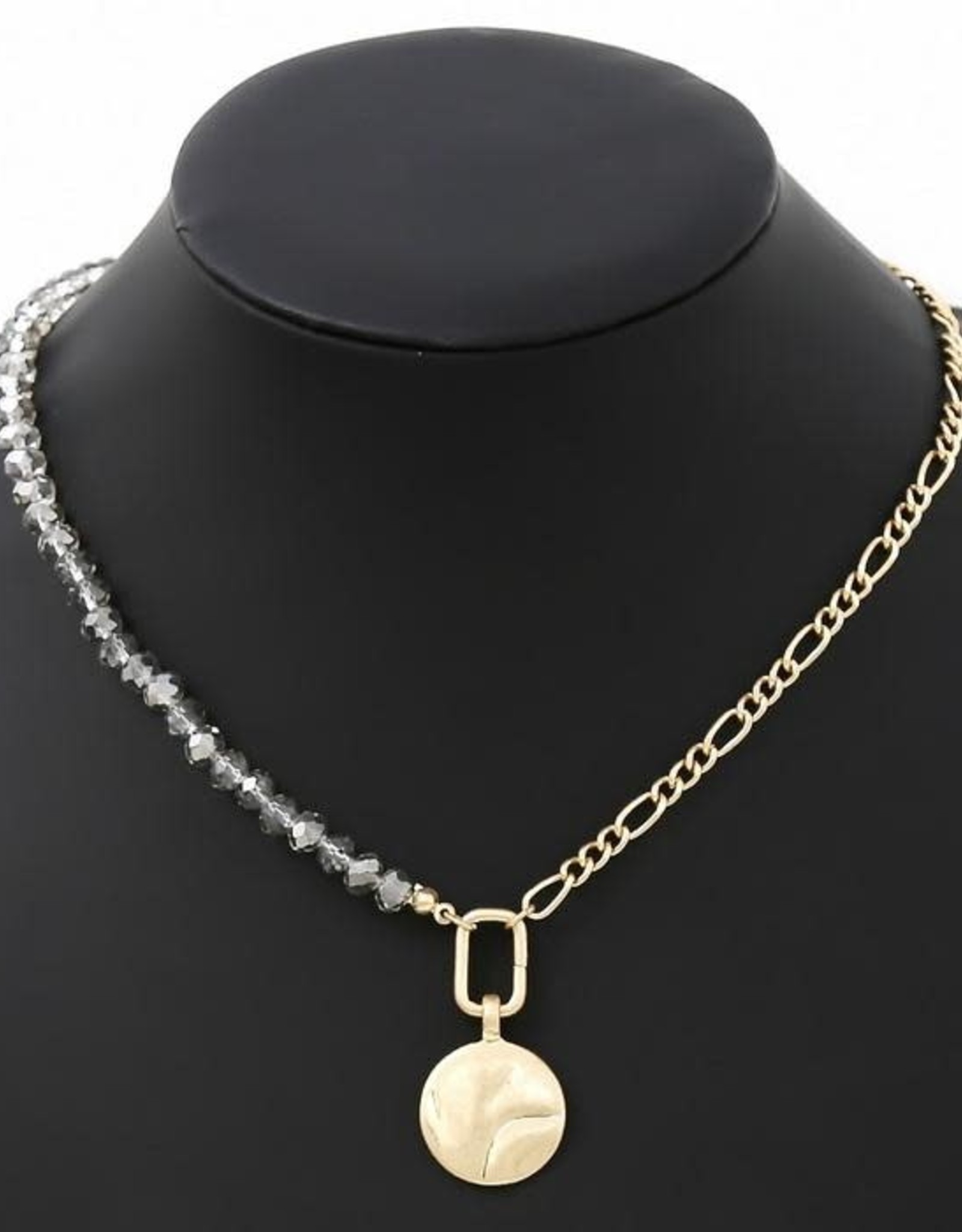Pearl/Glass Beaded Figaro Link Chain Hammered Metal Coin Pendant Necklace