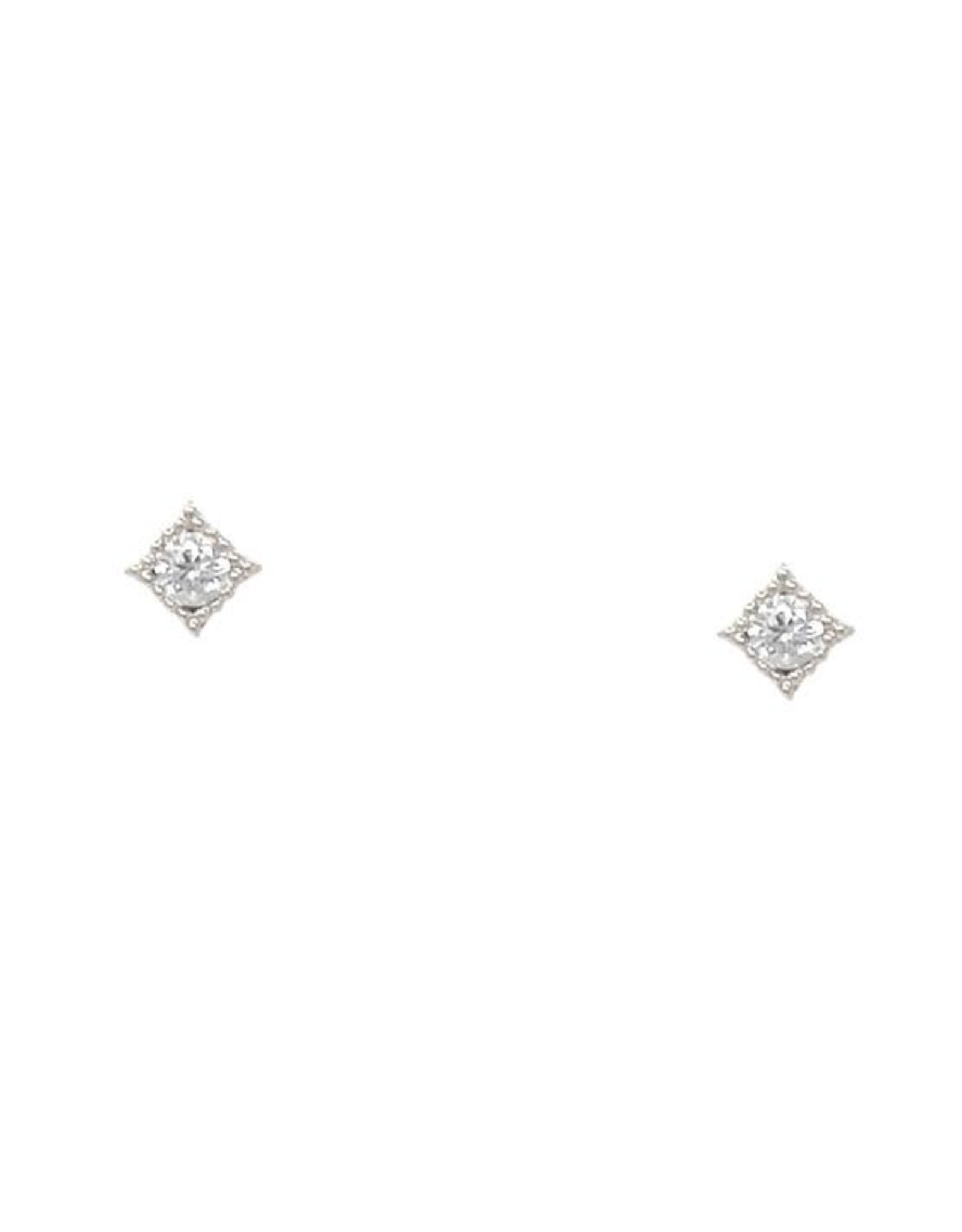 White Gold Dipped Square Framed CZ Studs