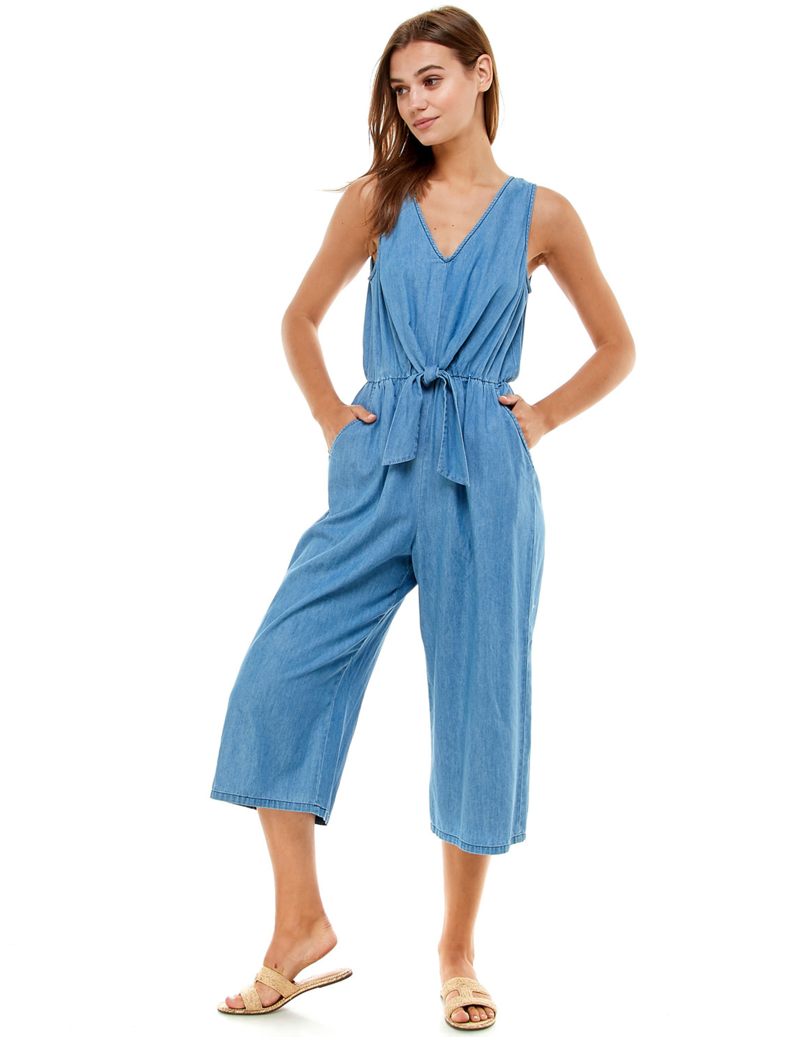 Tie-Front Chambray Jumpsuit