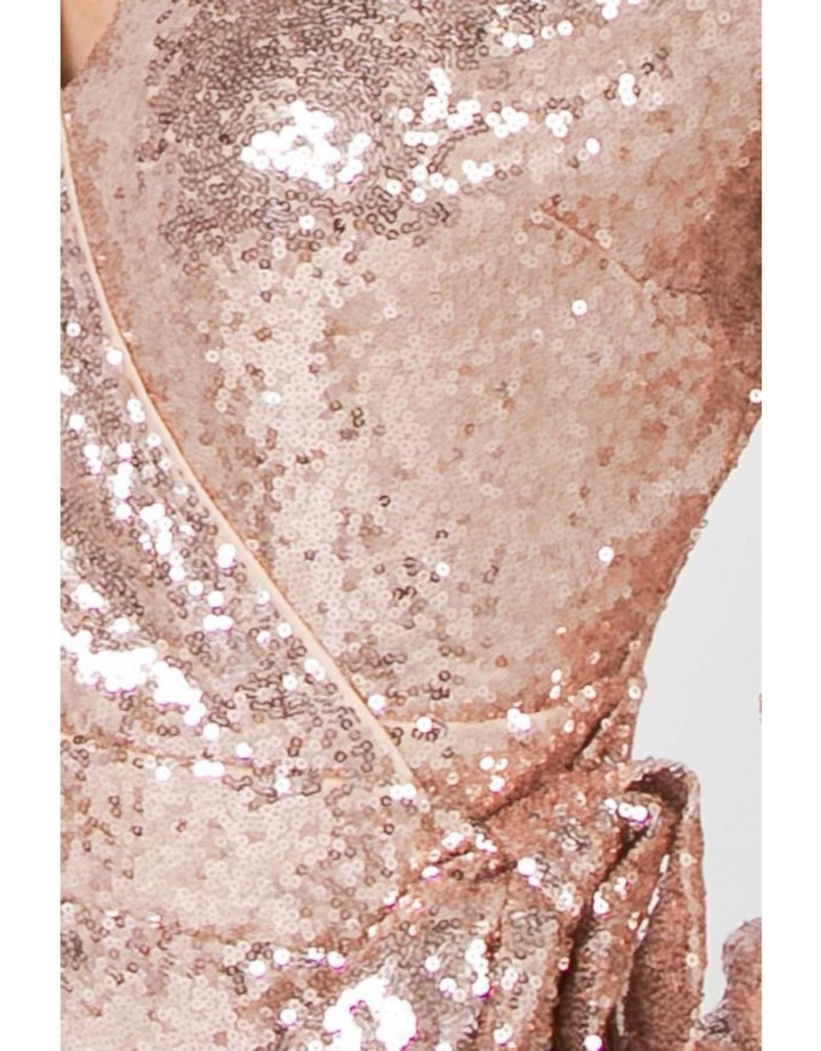 Champagne Sequin Wrap Dress