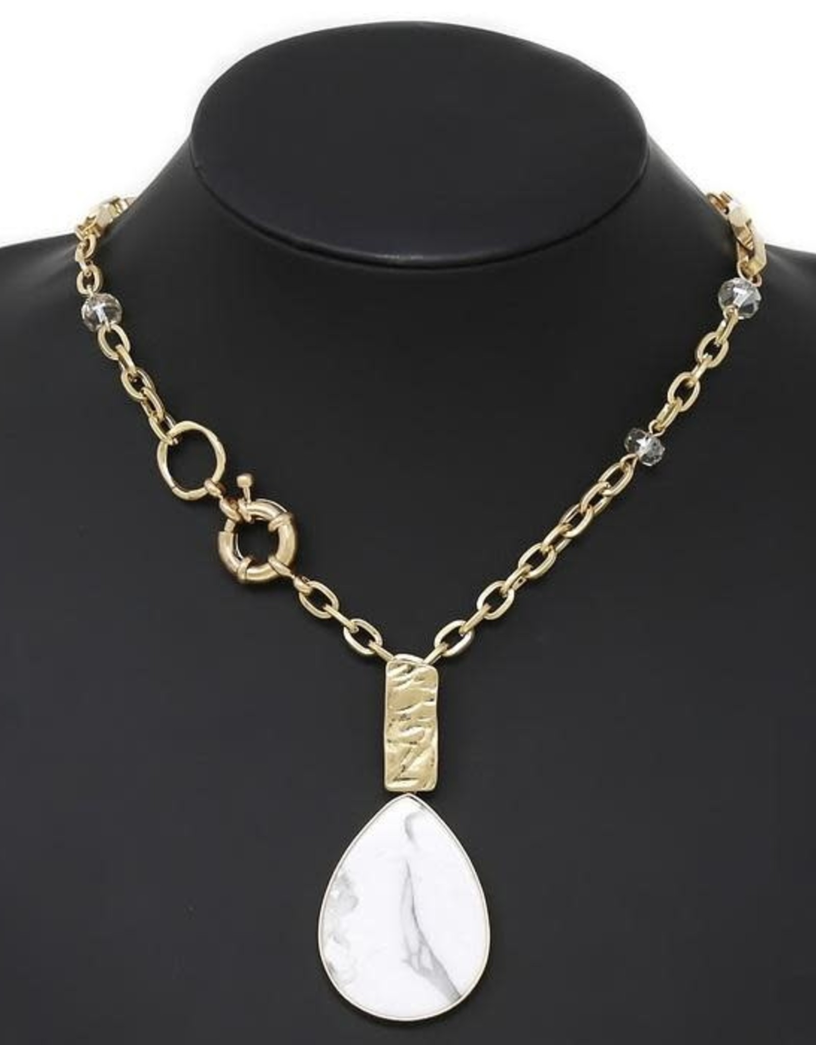 Natural Stone Pendant Necklace - White