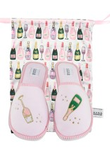 Champagne Foldable Slippers w/Pouch
