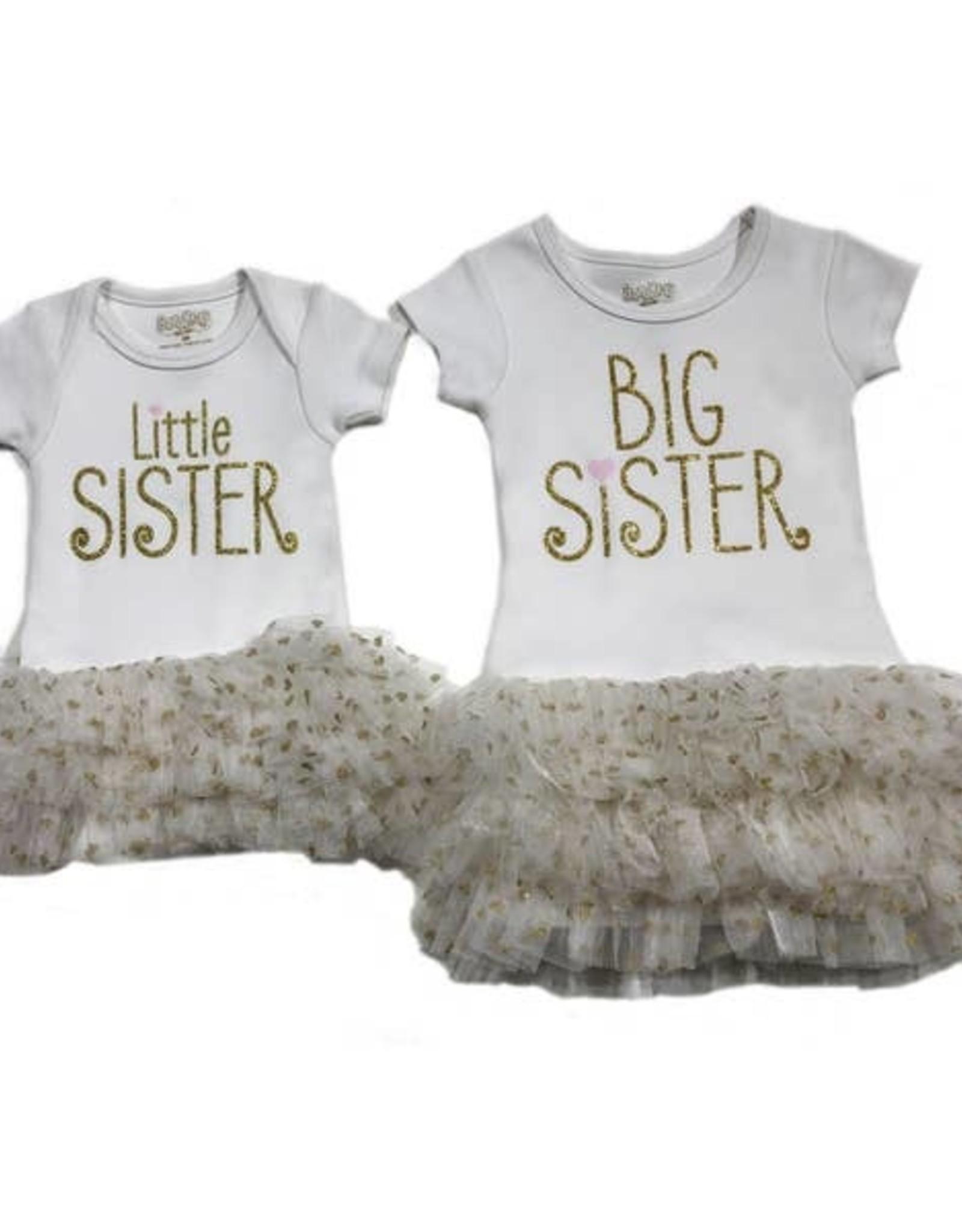 Onesie/Tutu Little Sis 9 Months Wht
