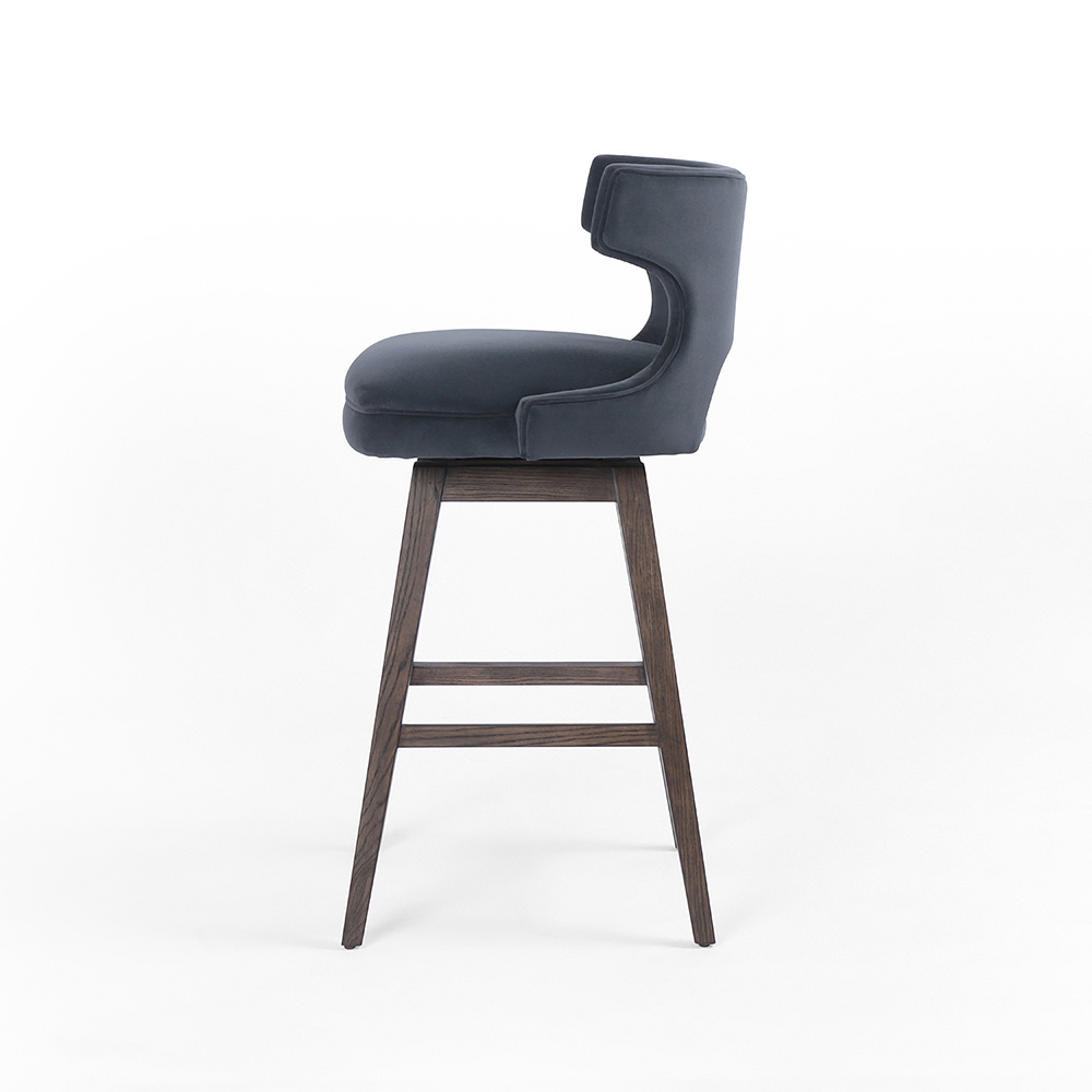 Portland Velvet Swivel Bar Stool