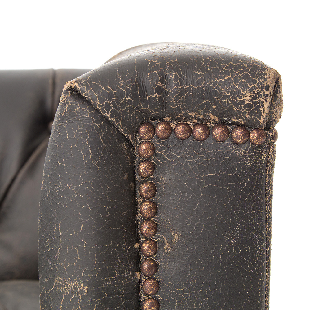 "Amsterdam Sofa - 95"" Destroyed Black Leather"