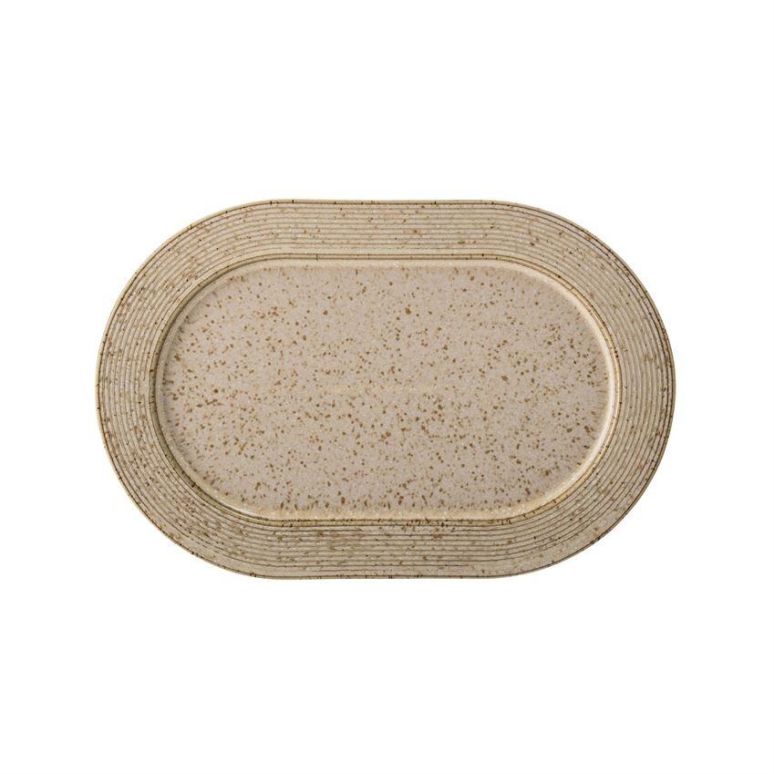 Stoneware Platter, Beige Speckled Finish
