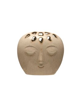 Beige Stoneware Face With Glaze