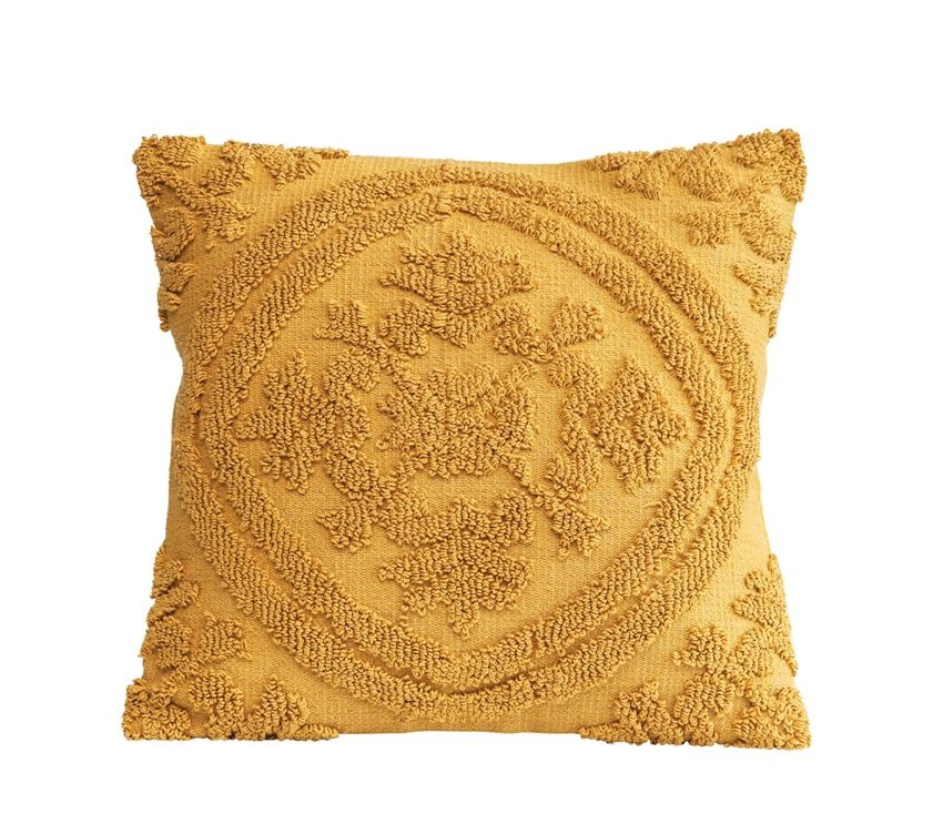"Square 18"" Cotton Chenille Mustard Pillow"