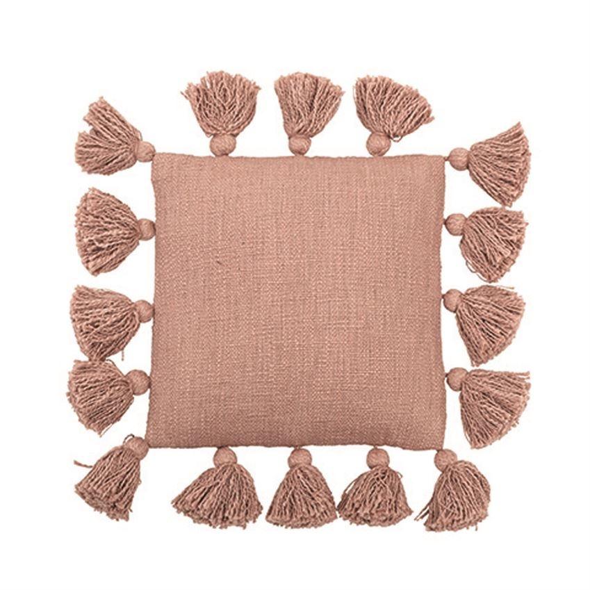 "Pillow 12"" Square Rose Cotton Pillow W / Tassels"