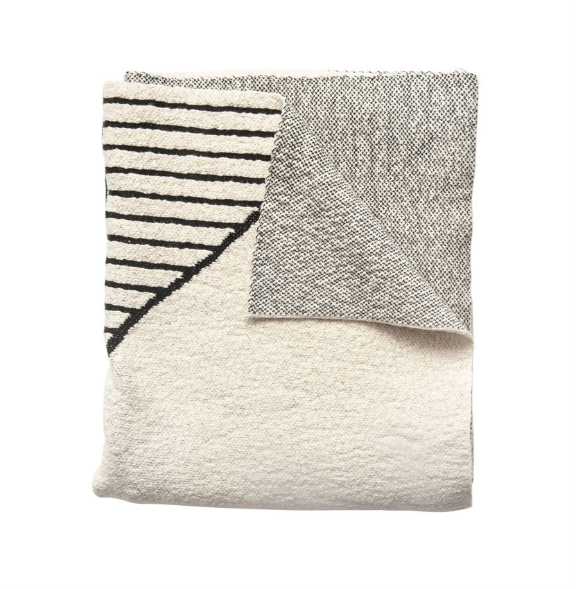 Cream and Black Cotton Knit Throw Blanket
