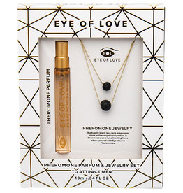 ENTRENUE Eye Of Love Pheromone Necklace Two Layer with Lava Rock-Gold
