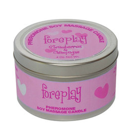 CLASSIC BRANDS Pheromone Soy Massage Candle, Foreplay, Strawberry & Champagne,